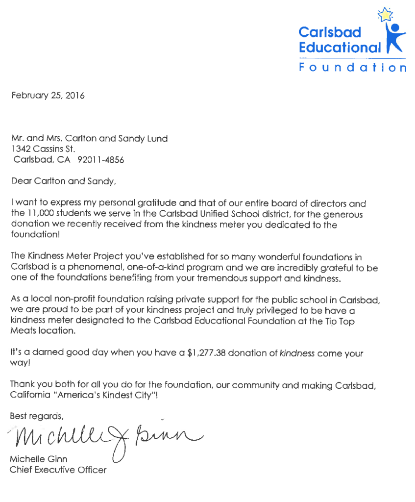 Carlsbad Education Foundation Letter